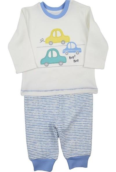 Baby Corner Pijama Takım Mavi Çizgili Araba