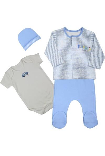 Baby Corner 4'lü Hırkalı Set Araba Mavi