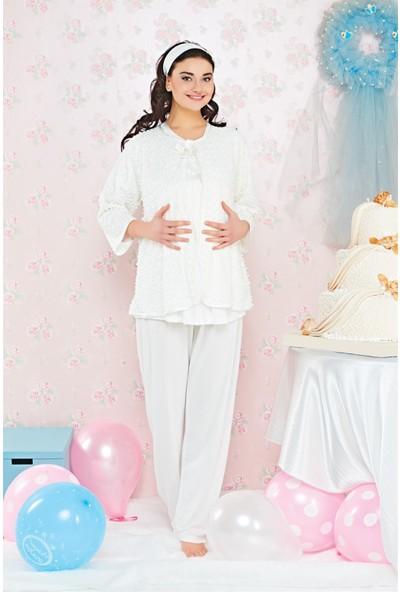 Emose Kadın Özel Sabahlıklı Lohusa Pijama Takımı 3724
