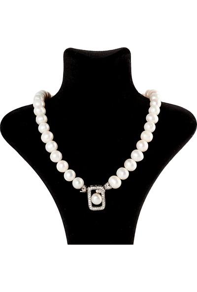 Saray Çarşısı 925 Ayar Gümüş Broşlu Hakiki İnci Kolye K0300052