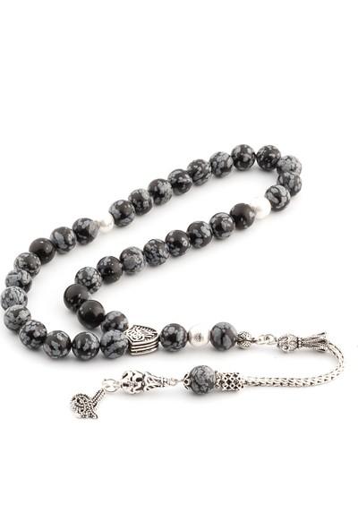 Saray Çarşısı Tüm Aparatları 925 Ayar Gümüş Obsidyen Taşı Tesbih T0319003