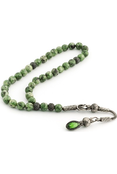 Saray Çarşısı Tüm Aparatları 1000 Ayar Gümüş Yeşil Benekli Ceyt Taşı Tesbih