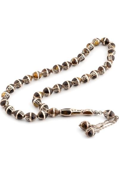 Saray Çarşısı Kahverengi Hareli Mine İşlemeli 925 Ayar Gümüş Tesbih T0201012