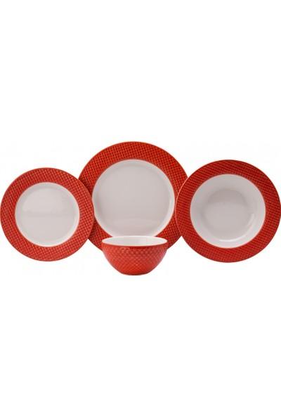 Karaca Petek 24 Parça 6 Kişilik Yemek Takımı Kırmızı