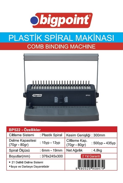 Bigpoint Plastik Spiral Makinesi 16 Yaprak (Double Handle)