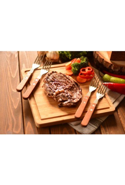 Bambum Geti - 4 Parça Steak Çatalı