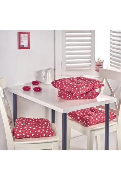 Lady Moda Silikon Dolgulu 4'lü Sandalye Minderi - Yıldız Kırmızı