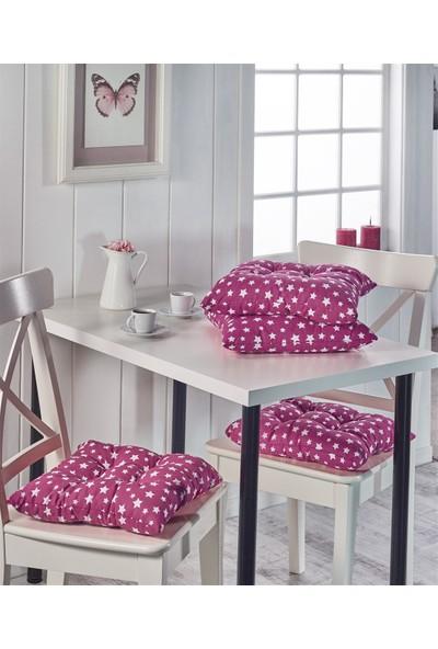 Lady Moda Silikon Dolgulu 4'lü Sandalye Minderi - Yıldız Pembe