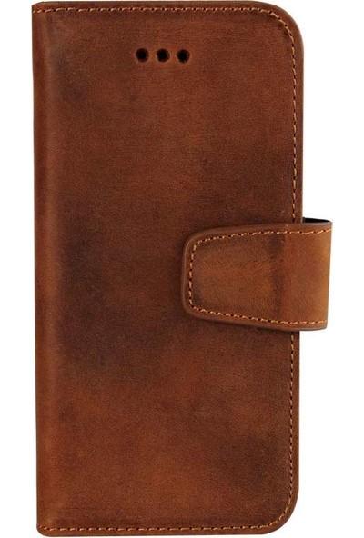 Book Case iPhone X Deri Classic Mirena Kahverengi Cüzdanlı Kılıf