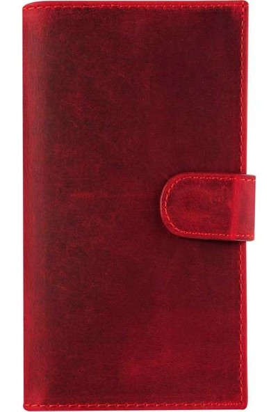 Book Case Samsung Galaxy S8 Plus Deri Double Wallet Kimi Kırmızı Cüzdanlı Kılıf