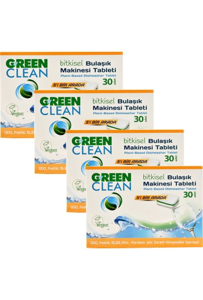 U Green Clean Bitkisel Bulaşık Makinesi Tableti 30'lu x 4 Adet
