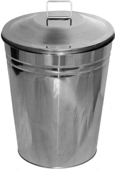 Arı Metal 1267 Paslanmaz Manuel Kapaklı Çöp Kovası 50 Litre