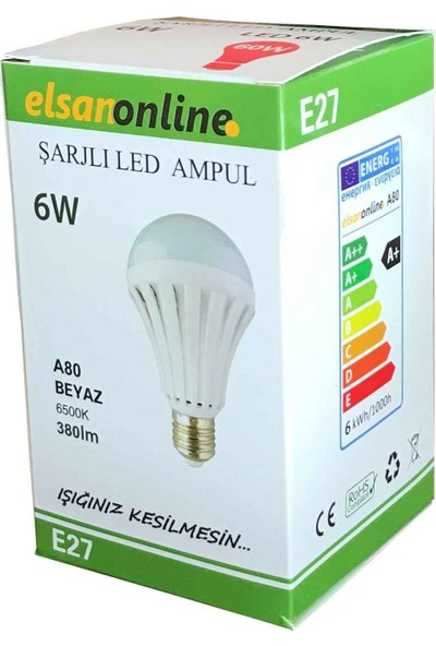 Şarjlı Emergency Led Ampul 6 W. Beyaz E27