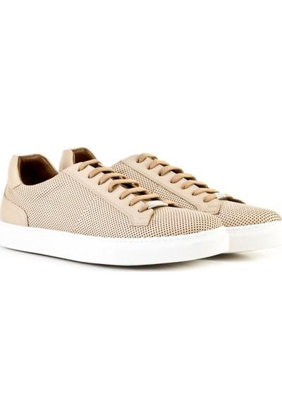 Cabani Lazerli Bağcıklı Sneaker Erkek Ayakkabı Bej Napa Deri