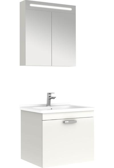 Kale Banyo Noventa Banyo Dolabı Seti 65 cm Parlak Beyaz