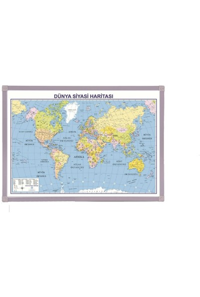 Aymi 70X100 Alüminyum Çerçeve Dünya Siyasi Harita