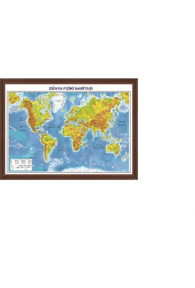 Aymi 70X100 Mdf Çerçeve Dünya Fiziki Harita