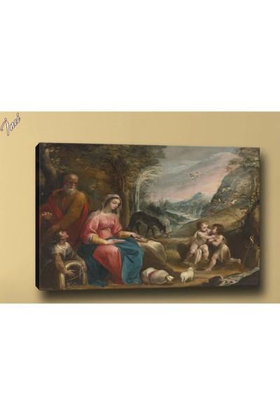 Caddeko Yb272 Aile Yağlı Boya Görünümlü Kanvas Tablo 70 x 100 cm