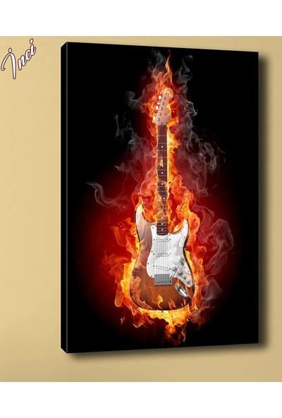 Caddeko Sz2088 Yanan Gitar Kanvas Tablo 70 x 100 cm
