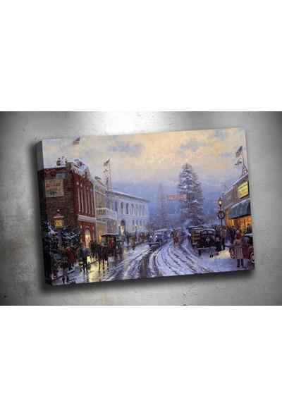 Caddeko Op5 Amerika'Da Yeni Yıl Yağlı Boya Görünümlü Kanvas Tablo 70 x 100 cm