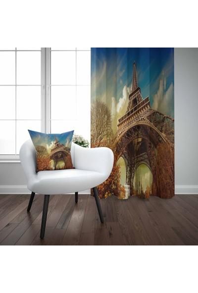 Else Paris Eyfel Kulesi Dekoratif Baskılı 3D Fon Perde-140X270Cm