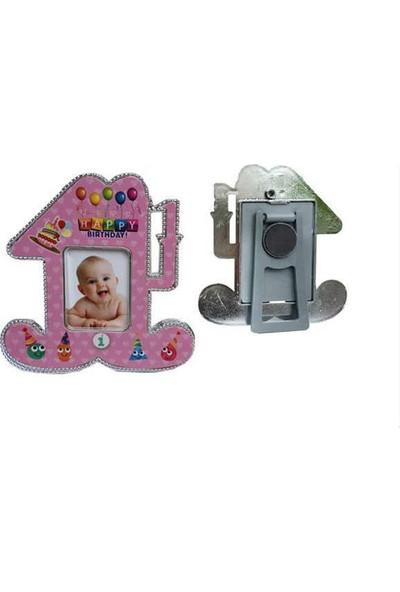 Cansüs Çerçeve 25 Adet 1 Yaş Doğum Günü Parti Hediyelik Plastik Ayaklı Magnetli Çerçeve Pembe9cm*9cm
