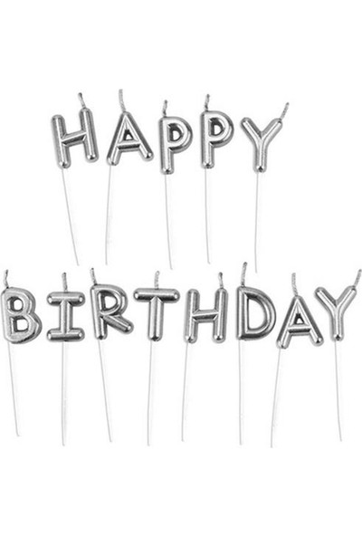 Cansüs Pasta Mumu Happy Birthday Yazılı Kürdan Mum 8 cm Gümüş