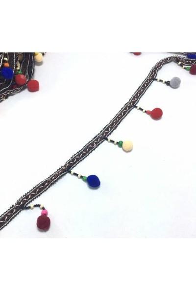 Brode Renkli Ponponlu İşleme Şerit Kurdele 7 cm