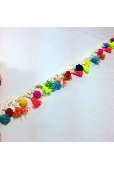 Brode Renkli Püsküllü Ponponlu İşleme Şerit Kurdele 4 cm
