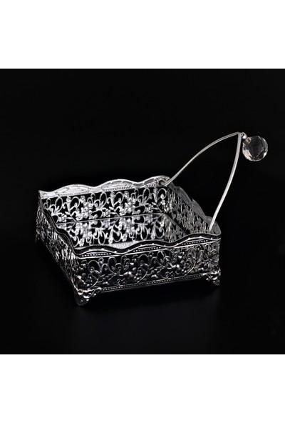 Yavuz Kristal Topuzlu Aynalı Metal Kare Dekoratif Peçetelik Gümüş 17 cm * 17 cm *6 cm