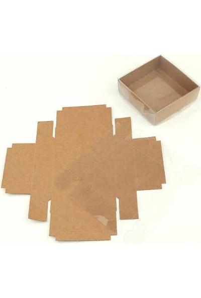 Brode Kutu 50 Adet Asetat Kapaklı Kraft Kutu 8 cm * 8 cm * 3 cm