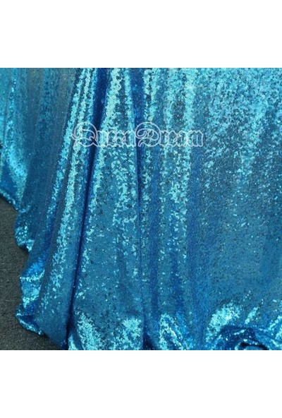 Brode Payet Kumaş 1 Metre Mavi Pullu Payet Kumaş En 140 cm