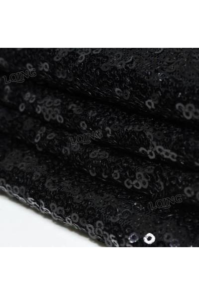 Brode Payet Kumaş 1 Metre Siyah Pullu Payet Kumaş En 140 cm