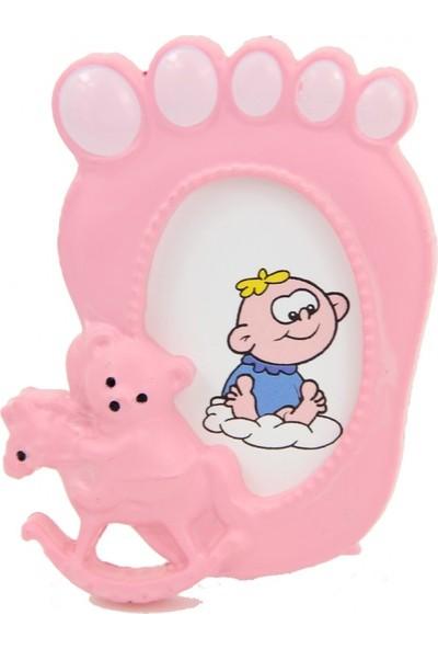 Cansüs Çerçeve 24lü Bebek Ayağı Şeklinde Ayaklı Mini Çerçeve Pembe 5cm * 7,5cm