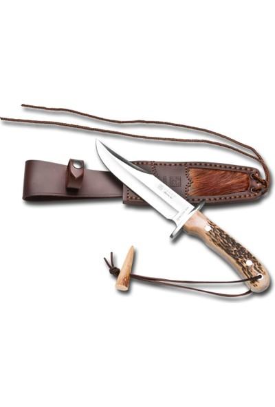 Joker Knives Cc96-3 Bowie Büyük Boy Geyik Boynuz Saplı Geyik Deri Kılıf