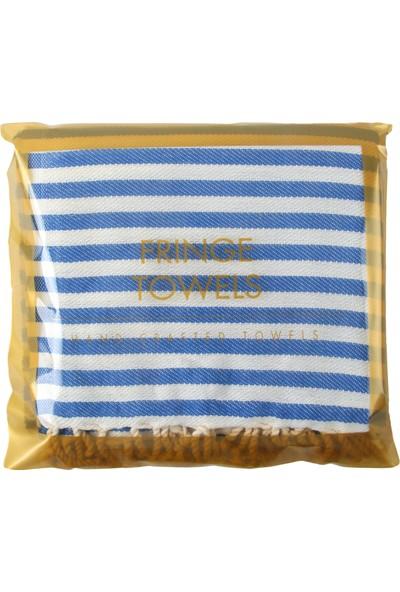 Fringe Towels Çizgili Peştemal Mavi