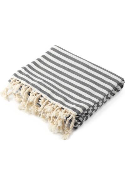 Fringe Towels Çizgili Peştemal Koyu Gri