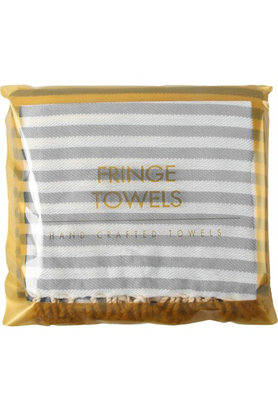 Fringe Towels Çizgili Peştemal Açık Gri