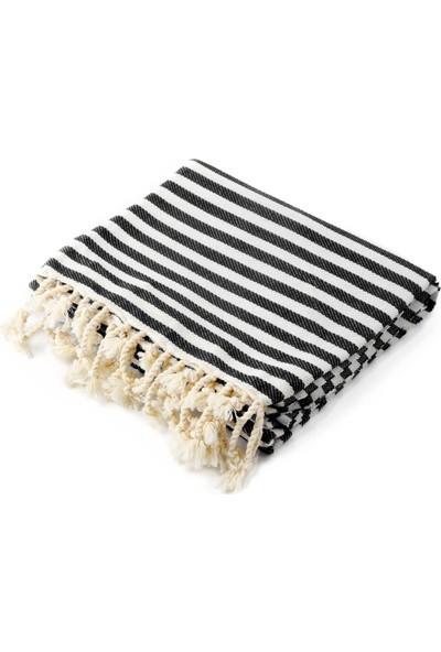 Fringe Towels Çizgili Peştemal Siyah