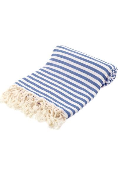 Fringe Towels Çizgili Peştemal Koyu Mavi