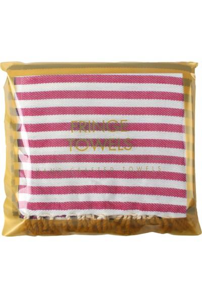 Fringe Towels Çizgili Peştemal Fuşya