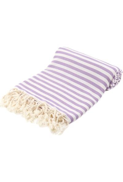Fringe Towels Çizgili Peştemal Lila