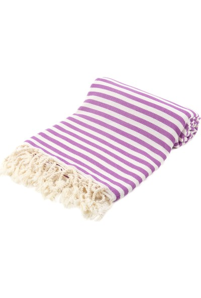 Fringe Towels Çizgili Peştemal Mor