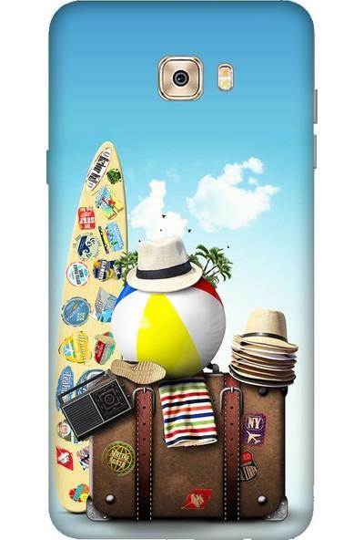 Tomkas Samsung Galaxy C7 Pro 0.2 mm Desenli Arka Kapak hopi8888