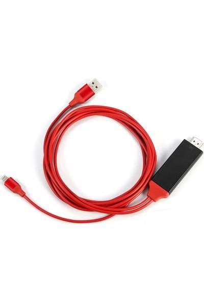Alfais 4308 Lightning HDMI Çevirici Dönüştürücü Tv Kablosu (iPhone 5/6/7/8/X Plus İçin)