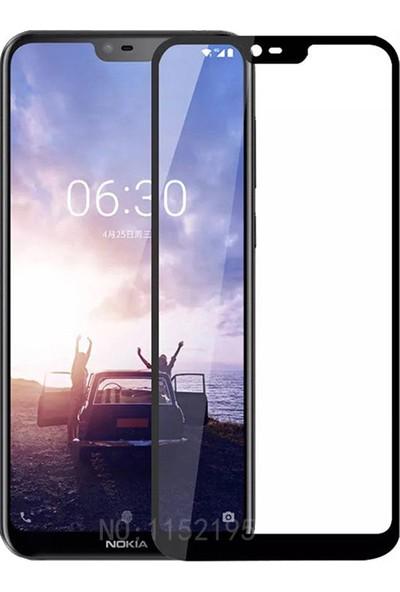 KNY Nokia X6 Full Yapışan Renkli Cam Ekran Koruyucu Siyah