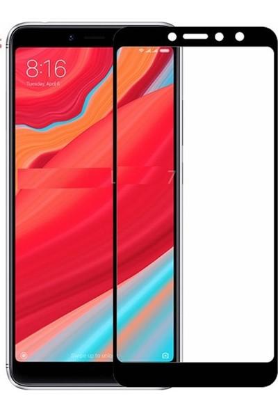 KNY Xiaomi Redmi S2 Full Yapışan Renkli Cam Ekran Koruyucu Siyah