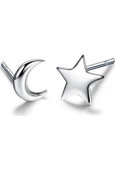 VipBT Ay Yıldız Küpe 925 Ayar Gümüş
