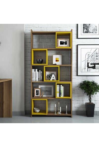 Variant Mobilya Box Kitaplık - Ceviz / Sarı
