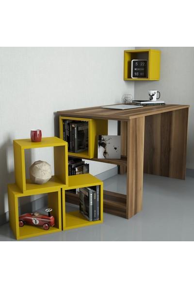 Variant Mobilya Box Çalışma Masası - Ceviz / Sarı